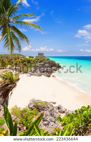 God of Winds Temple on turquoise Caribbean sea. Ancient Mayan ruins in Tulum, Mexico - stock photo