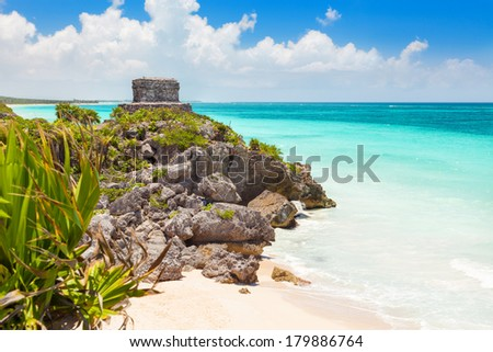 God of Winds Temple on turquoise Caribbean sea. Ancient Mayan ruins of Tulum, Mexico - stock photo