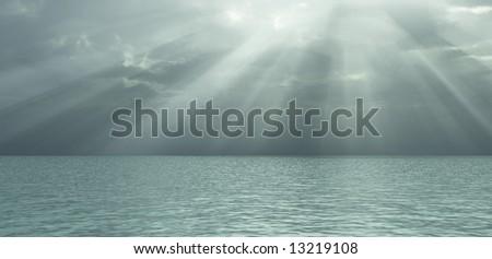 God rays - stock photo