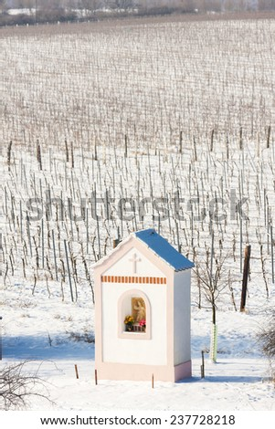 God''s torture near Hnanice with winter vineyard, Southern Moravia, Czech Republic - stock photo