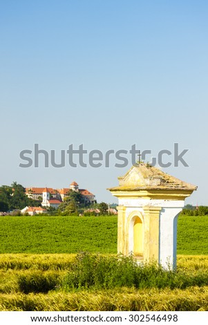 God's torture with field and Jaroslavice Castle, Czech Republic - stock photo