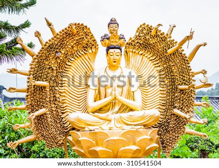 God statue in Hong Kong Buddhism Temple, China