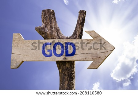 God wooden sign on a beautiful day - stock photo