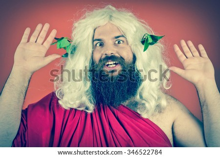 God zeus or jupiter with hands up against orange background