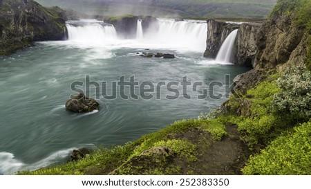 Godafoss a beautiful waterfall in north Iceland - stock photo