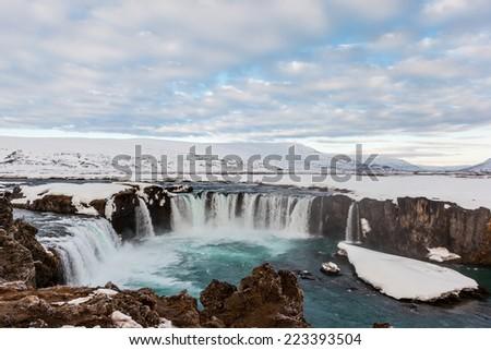 Godafoss fall in the morning, Iceland. - stock photo
