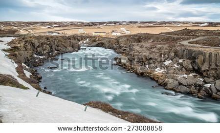 Godafoss falls in winter, Iceland - stock photo