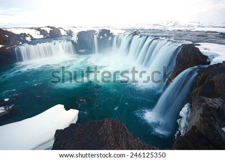 Godafoss in iceland in late winter - stock photo
