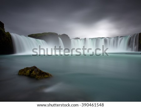 Godafoss the most spectacular waterfall in Iceland - stock photo
