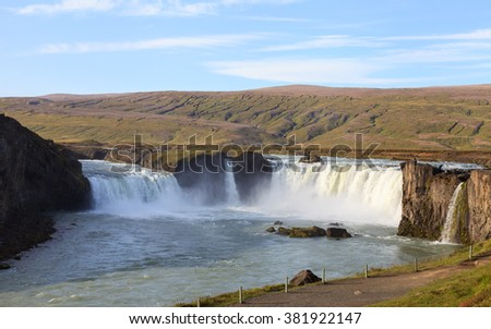 "Godafoss Waterfall.  Godafoss is a waterfall in Northern Iceland and is the Icelandic term for ""Waterfall of the Gods""."