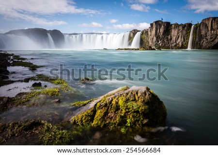 Godafoss Waterfall, Iceland. Clear Blue Sky - stock photo