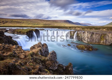 Godafoss waterfall in Iceland - stock photo