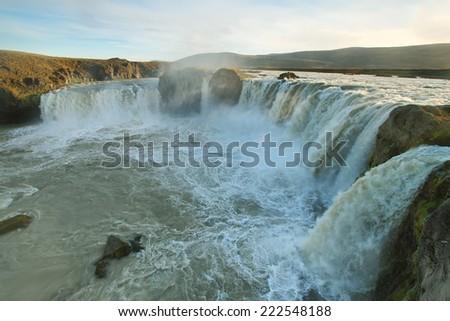 Godafoss waterfall in northern Iceland - stock photo
