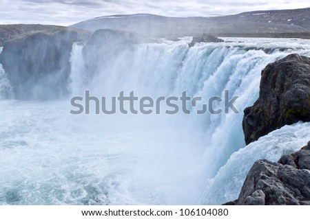 Godafoss waterfall in the spring in the north of Iceland - stock photo