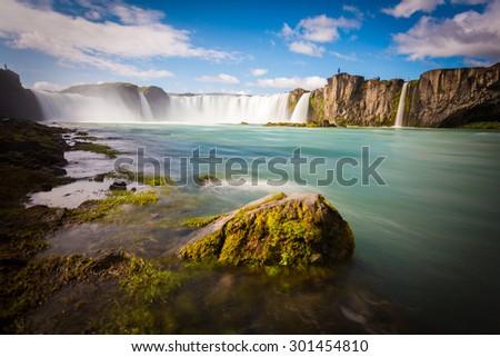 Godafoss waterfall with sunny blue sky, Iceland, Europe - stock photo