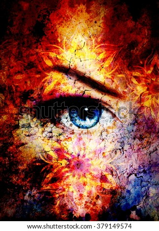 Goddess Woman and oriental ornamental mandala and color abstract background with spots, and lava structure. copy space. Earth concept. Eye contace