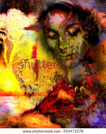 Goddess woman, with ornamental face and tree, and color abstract background. meditative closed eyes,  computer collage. Red, orange, yellow color