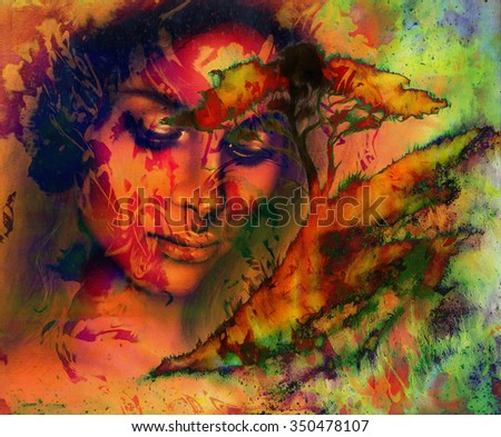 Goddess woman, with ornamental face and tree, and color abstract background. meditative closed eyes