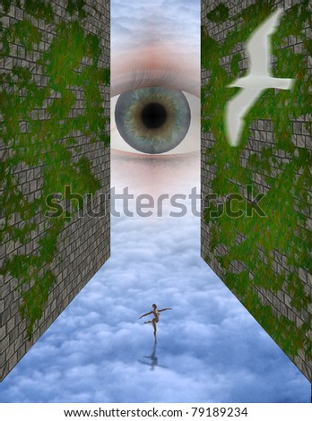 godlike eye watches over strange Scene - stock photo