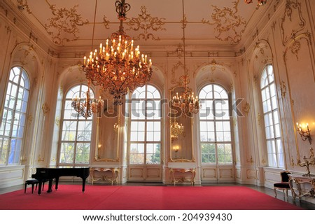 GODOLLO, Hungary, - November. 6. 2008: Ball room at The Royal Palace of Godollo, Hungary, The palace was favorite summer home of Habsburg princess and Empress of Austria &Queen of Hungary, Elisabeth. - stock photo