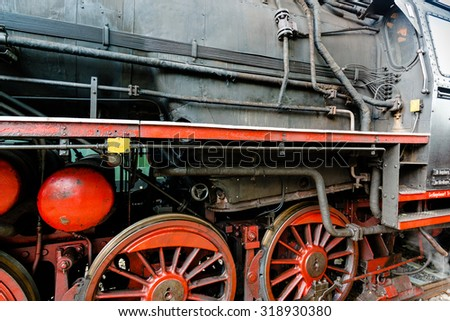 GOEPPINGEN, GERMANY - SEPTEMBER 19, 2015: Detail of an old steam locomotive in the station of Goeppingen, Germany during the Maerklin Days 2015: Maerklin, the largest German producer of model - stock photo