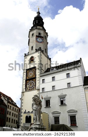 Goerlitz, Saxony, Germany - June 21, 2010: Old city hall at the Lower Market Place of Goerlitz in Saxony.