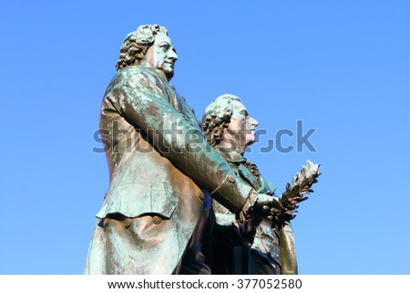 Goethe and Schiller monument in Weimar, Germany, Europe - stock photo