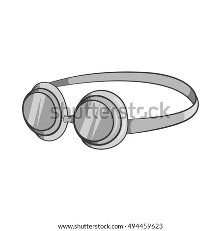 Goggles icon in black monochrome style isolated on white background. Swimming symbol  illustration