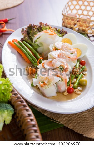 Goi Cuon - Vietnamese fresh summer rolls filled with prawns, herbs, rice vermicelli and vegetables.