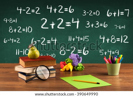 Going back to school concept with blackboard full of numbers and a busy student desk - stock photo