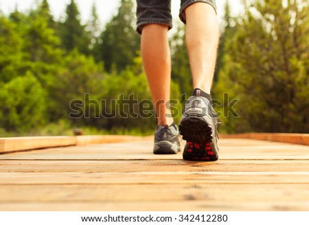 Going for a walk in nature - stock photo