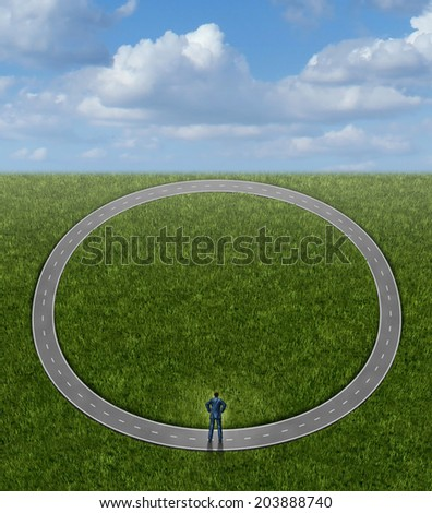 Going in circles and career problems business concept  in status quo as a businessman on a pointless circular repeating road as an icon of stagnation and wasted time on a useless path to nowhere. - stock photo