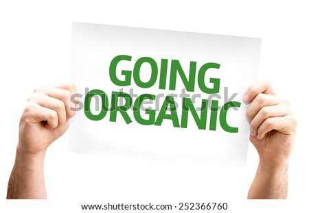 Going Organic card isolated on white - stock photo