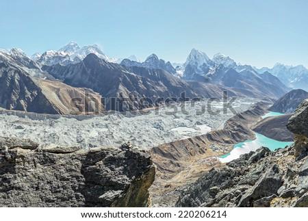 Gokeo glacier and lakes - Everest region, Nepal, Himalayas - stock photo