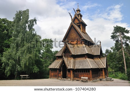 Gol stave church in Folks museum Oslo, old wooden church - stock photo