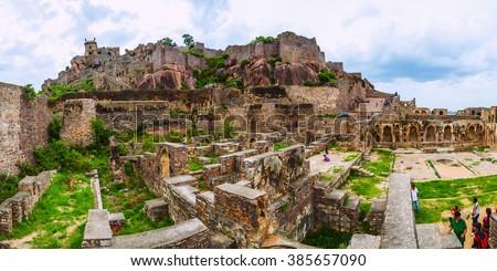 Golconda fort, Hyderabad District, Telangana, India - August 03, 2014: Ruins of the Golconda Fort. Panorama 2x1. - stock photo