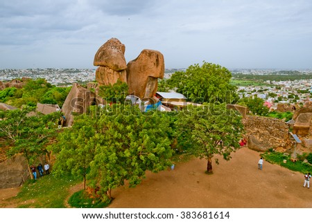 Golconda fort, Hyderabad District, Telangana, India - August 03, 2014:The inner courtyard of the fort. - stock photo