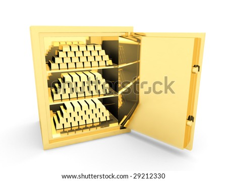 Gold a safe with gold bullion, on a white background