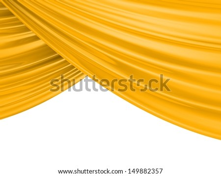 Gold Abstract Cloth on a white background. 3d illustration