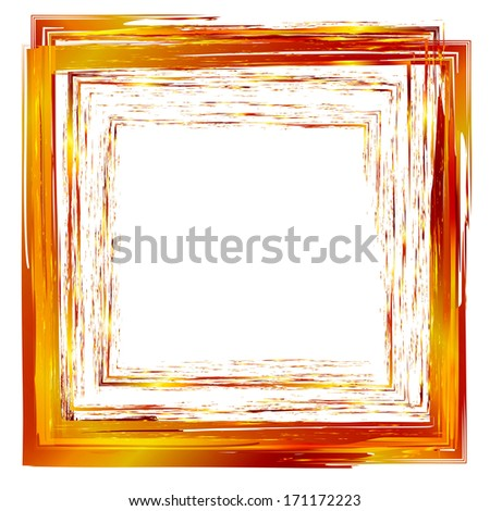 gold abstract design element square frame painted with brush strokes