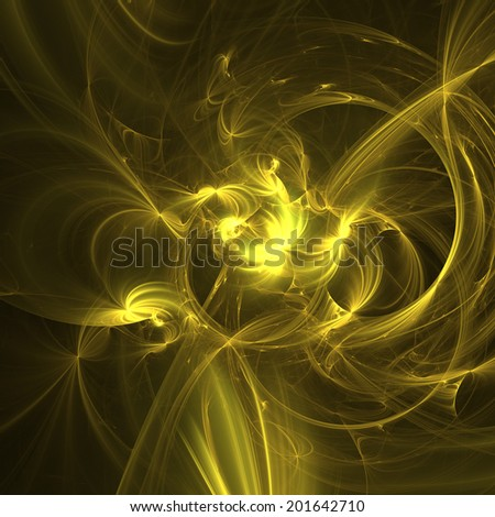Gold abstract fractal wallpaper like a liquid gold - stock photo