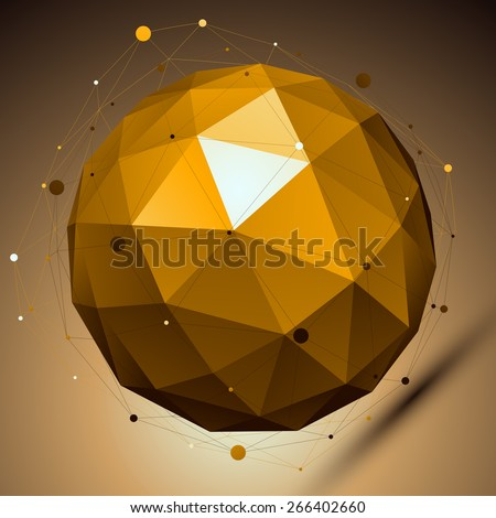 Gold abstract spherical object with lines mesh placed over shaded background. - stock photo