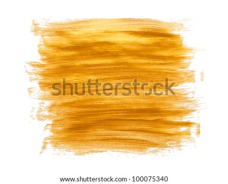 Gold acrylic paint brush strokes on white background