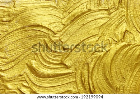 gold acrylic textured painting background - stock photo