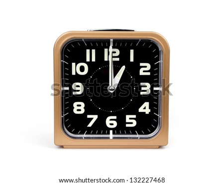Gold alarm clock . Icon. Isolated on white Background.