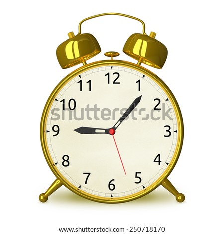 Gold alarm clock isolated on white, front view - stock photo