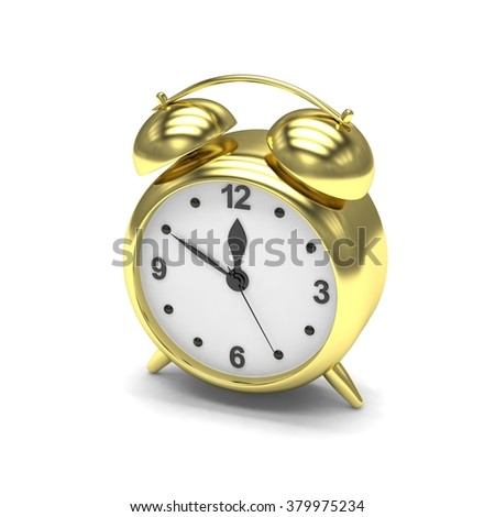 Gold alarm clock on white - stock photo