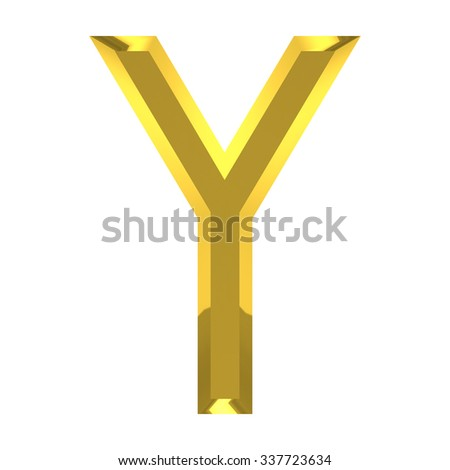 gold alphabet on white background with clipping path