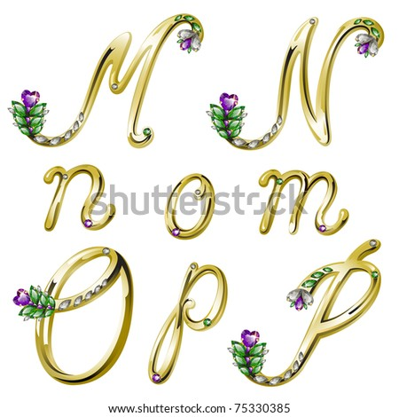 Gold alphabet with diamonds and gems letters M,N,O,P (see eps version in my portfolio) - stock photo