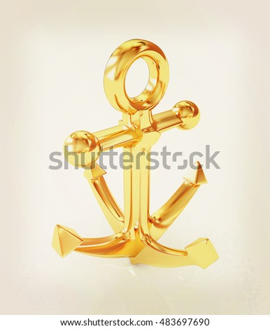 Gold anchor. 3D illustration. Vintage style.